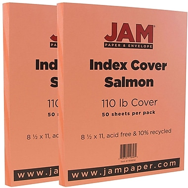 JAM Paper® Vellum Bristol Index Cardstock, 8.5 x 11, 110lb Salmon, 2 packs of 50 (169856g)