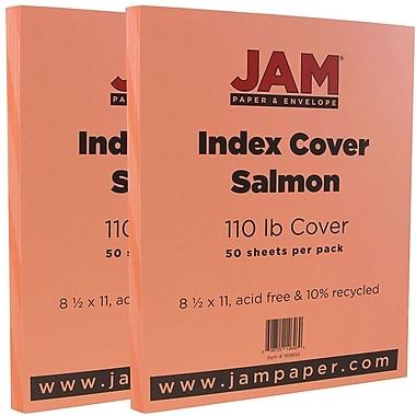JAM Paper - Papier cartonné Bristol au fini vélin pour fichiers, 8,5 x 11 po, 110 lb, rose saumon, 2 paquets de 50 (169856g)