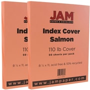 JAM Paper® Vellum Bristol Index Cardstock, 8.5 x 11, 110lb Salmon, 2 packs of 50 (169856g)