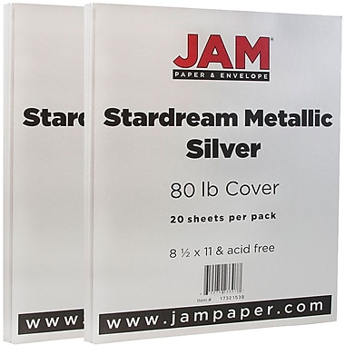 JAM Paper Metallic Paper, 8.5 x 11, 80lb Stardream Silver, 2 packs of 20 (17321539g)