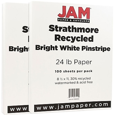 JAM Paper® Strathmore Paper, 8.5 x 11, 24lb Bright White Pinstripe, 2 packs of 100 (190005g)