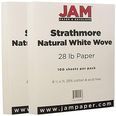 JAM Paper® Strathmore Paper, 8.5 x 11, 28lb Natural White Wove, 2 packs of 100 (194889g)