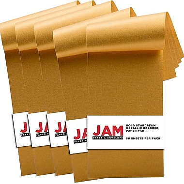 JAM Paper® Paper Pad, 3 x 6, Stardream Gold, 5 Packs of 50 (211628156g)