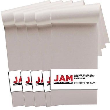 JAM Paper® Paper Pad, 3 x 6, Stardream Quartz, 5 Packs of 50 (211628157g)