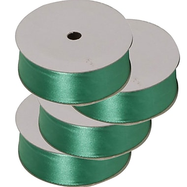 JAM Paper® Satin Ribbon, .88 Inch Wide x 7 Yards, Emerald Green, 4/Pack (2133716393g)