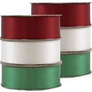 JAM PaperMD – Ruban satiné, 88 pouces de large x 7 verges de long, ensemble de Noël rouge/vert/blanc, 2/paquet (2133717011g)