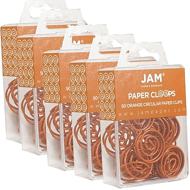 JAM Paper® Circular Coloured Papercloops, Orange Round Paper Clips, 250/Pack (21827540g)