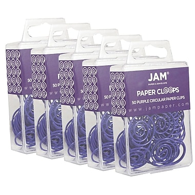 JAM Paper® Circular Coloured Papercloops, Purple Round Paper Clips, 250/Pack (2187137g)