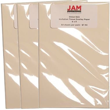 JAM Paper® Invitation Tissue Overlay Paper, 6 x 9, Onion Skin, 150/Pack (2189915218g)