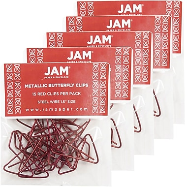 JAM Paper® Butterfly Paper Clips, Red Paperclips, 5/Pack (2210016348g)