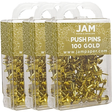 JAM Paper® Push Pins, Shiny Gold Pushpins, 300/Pack (222419051g)
