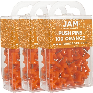 JAM Paper® Push Pins, Orange Pushpins, 300/Pack (222419052g)