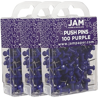 JAM Paper® Push Pins, Purple Pushpins, 300/Pack (222419053g)