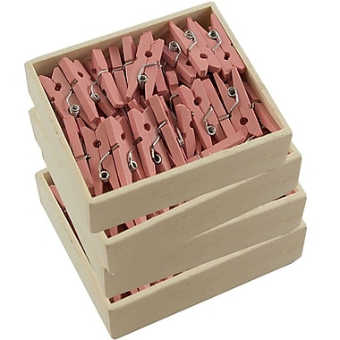 JAM Paper® Wood Clothing Pin Clips, Small.88, Pink, 200/Pack (2230717362g)