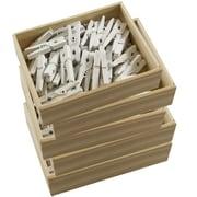 Jam PaperMD – Épingles à linge miniatures en bois, 1 1/8 po, blanc, 200/paquet