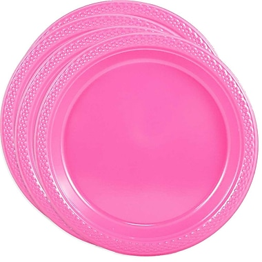 JAM Paper® Round Plastic Plates, Small, 7 Inch, Pink, 4 packs of 20 (2255320680g)