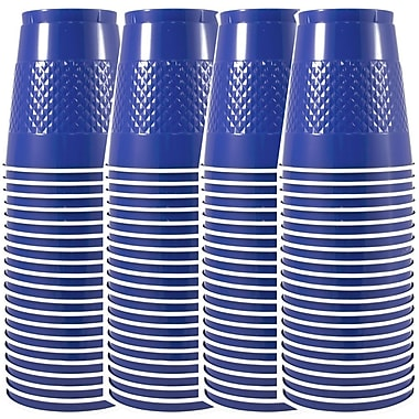 JAM Paper® Plastic Cups, 12 oz, Blue, 4 packs of 20 (2255520701g)