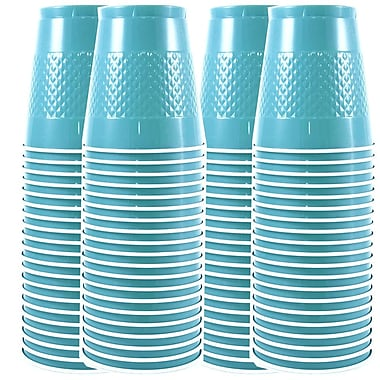 JAM Paper® Plastic Cups, 12 oz, Sea Blue, 4 packs of 20 (2255520702g)