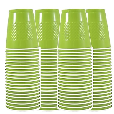 JAM Paper® Plastic Cups, 12 oz, Lime Green, 4 packs of 20 (2255520704g)