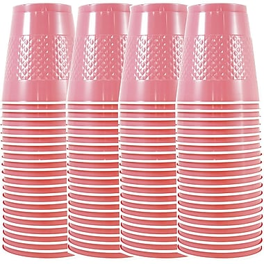 JAM Paper® Plastic Cups, 12 oz, Baby Pink, 4 packs of 20 (2255520705g)