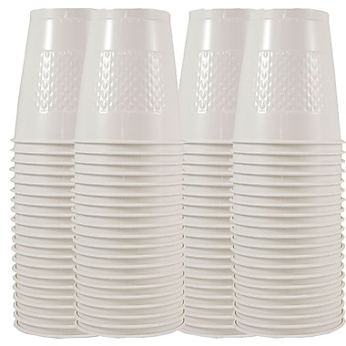 JAM Paper® Plastic Cups, 12 oz, White, 4 packs of 20 (2255520710g)