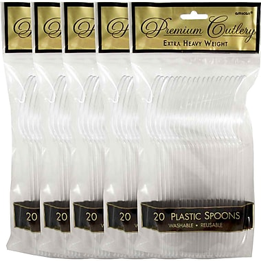 JAM Paper® Heavy Weight Plastic Spoons, Clear, 5 packs of 20 (2255820745g)