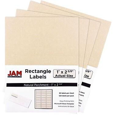 JAM PaperMD – Étiquettes postales, 2 5/8 x 1 po, naturel, 30 par page, 480 par paquet
