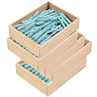 JAM Paper® Wood Clothing Pin Clips, Medium 1 1/8, Blue, 5 packs of 50 (230726776g)