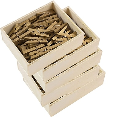 JAM Paper® Wood Clothing Pin Clips, Small 7/8, Gold, 5 packs of 50 (230726889g)