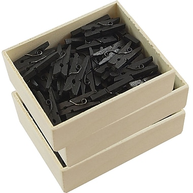 JAM Paper® Wood Clothing Pin Clips, Small 7/8, Black 3 packs of 50 (230729131g)