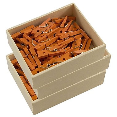 JAM Paper® Wood Clothing Pin Clips, Small 7/8, Orange, 3 packs of 50 (230729133g)