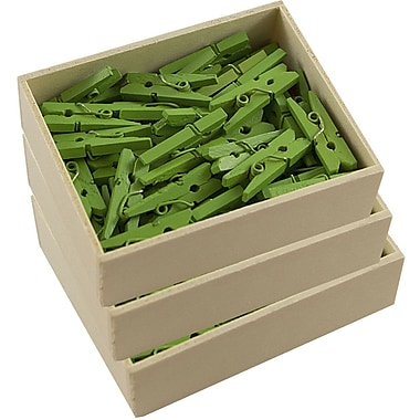 JAM Paper® Wood Clothing Pin Clips, Small 7/8, Green, 3 packs of 50 (230729135g)