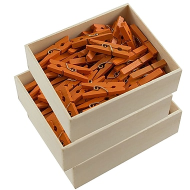 JAM Paper® Wood Clothing Pin Clips, Medium 1 1/8, Orange, 3 packs of 50 (230729145g)