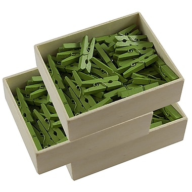 JAM Paper® Wood Clothing Pin Clips, Medium 1 1/8, Green, 3 packs of 50 (230729147g)