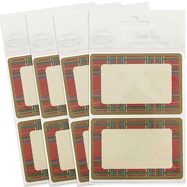 JAM Paper® Christmas Holiday Gift Label Name Tag Stickers, 2.25 x 3.5, Red Flannel, 4 packs of 24 (249824363g)