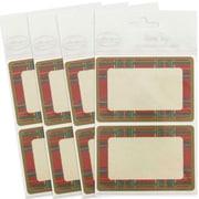 JAM PaperMD – Étiquette-cadeau porte-nom avec flanelle, 2 1/4 x 3 1/2 po, 2/page, 96/paquet, rouge