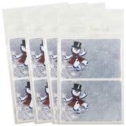 JAM PaperMD – Étiquettes-cadeaux porte-nom avec bonhomme de neige dansant, 2 1/4 x 3 1/2 po, 2/page, 96/paquet