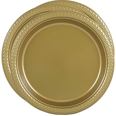 JAM Paper® Round Plastic Plates, Medium, 9 Inch, Gold, 3 packs of 20 (255325365g)