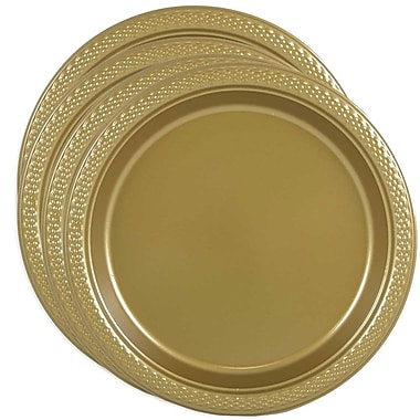 JAM Paper® Round Plastic Plates, Small, 7 Inch, Gold, 4 packs of 20 (255325367g)