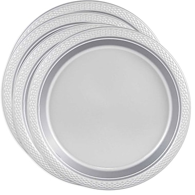 JAM Paper® Round Plastic Plates, Medium, 9 Inch, Silver, 4 packs of 20 (255325375g)