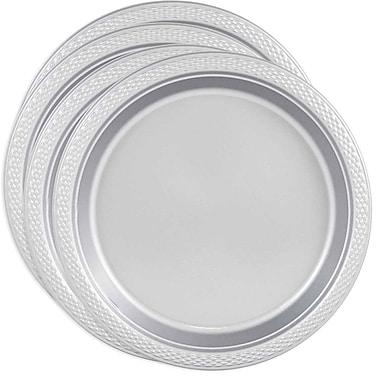JAM Paper - Assiettes rondes moyennes en plastique, 9 po, argenté, 4 paquets de 20 (255325375g)