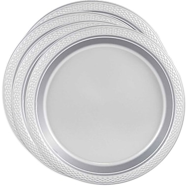 JAM Paper® Round Plastic Plates, Small, 7 Inch, Silver, 4 packs of 20 (255325377g)