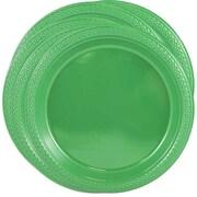 JAM PaperMD – Petites assiettes rondes de fête en plastique, 7 po, vert, paquet de 100