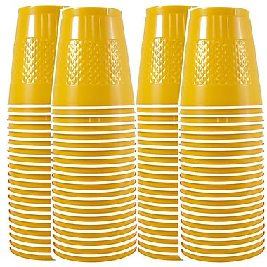 JAM Paper® Plastic Cups, 12 oz, Yellow, 4 packs of 20 (255523919g)