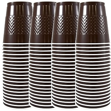 JAM Paper® Plastic Cups, 12 oz, Brown, 4 packs of 20 (255525243g)