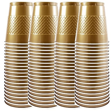 JAM Paper® Plastic Cups, 12 oz, Gold, 4 packs of 20 (255525363g)