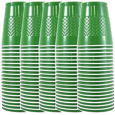 JAM Paper® Plastic Cups, 12 oz, Green, 5/Pack (255528205g)