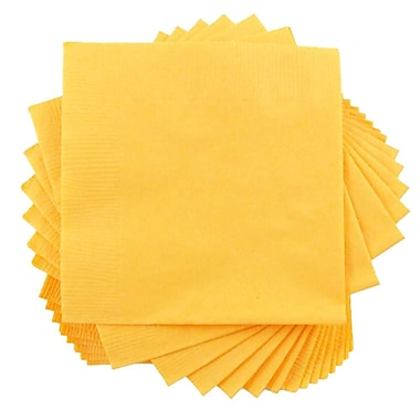 JAM Paper® Small Beverage Napkins, Small, 5 x 5, Yellow, 10 packs of 50 (255621944g)