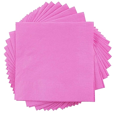 JAM Paper® Small Beverage Napkins, Small, 5 x 5, Fuchsia Pink, 10 packs of 50 (255621947g)