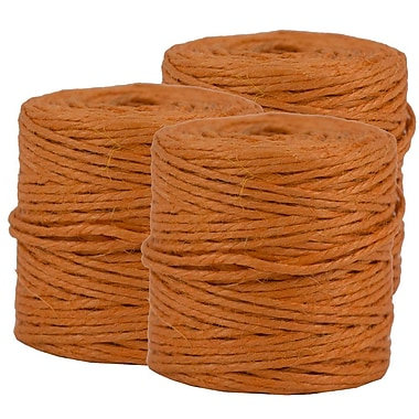 JAM Paper® Kraft Twine, 73 Yards, Orange, 3/Pack (267820979g)